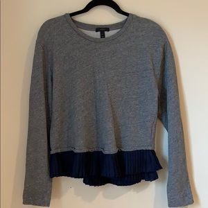 J crew grey long sleeves with frill details
